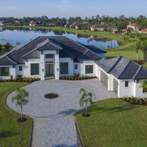elevation of custom lakefront Coastal style home
