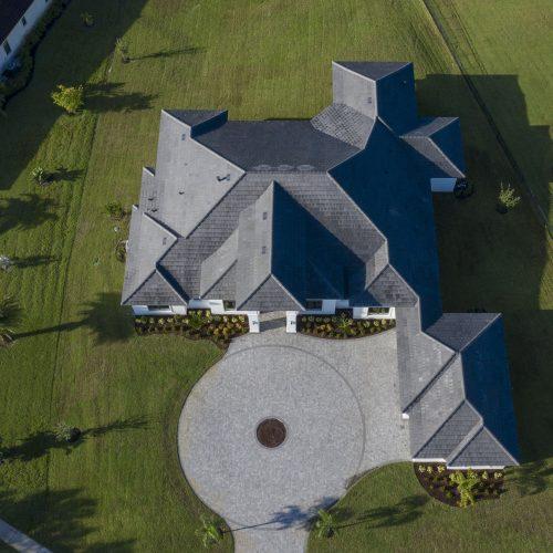 elevation shot of new Coastal style lakefront home