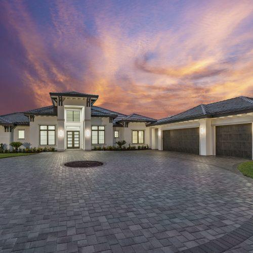 exterior shot of beautiful custom Coastal style home