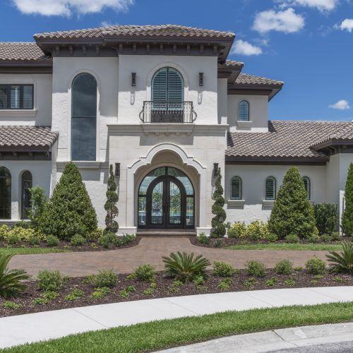 front of elegant transitional style custom home