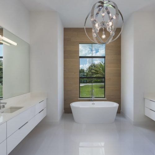 elegant bath in custom Florida home